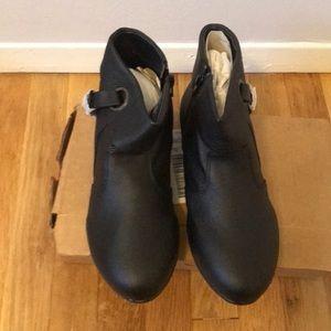 Never worn black booties! Wide width!